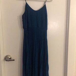 Turquoise pleated thin strapped Rachel Roy dress